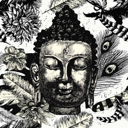 buddha head: Buddha head with leaves and feathers seamless pattern. Black and white. Hand drawn.