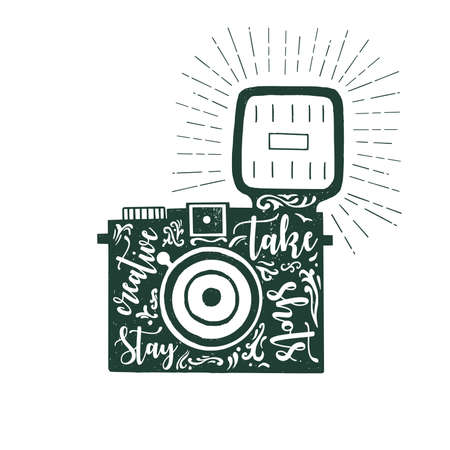 shots: Hand drawn vector illustration of photo camera with text expression stay creative take shots. Hand drawn.