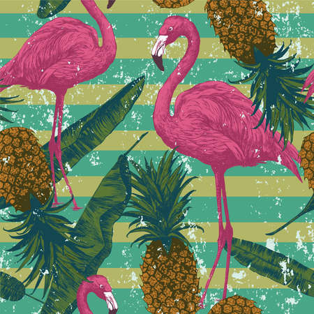 Seamless pattern with flamingo, pineapples, banana leaves. Hand drawn.