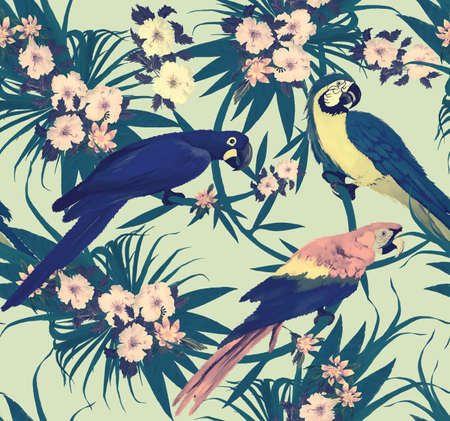 Seamless vintage pattern with macaws sitting on branches. Hand drawn vector. Иллюстрация