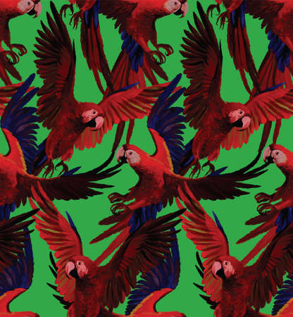 Seamless pattern with red macaws flying. Hand drawn vector. Çizim
