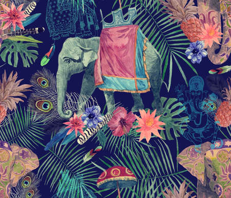 Seamless exotic watercolor pattern with elephants, flowers, leaves, feathers, ganesha.