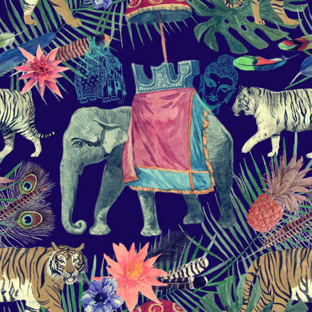 Seamless watercolor pattern with elephant, tigers, leaves, flowers.