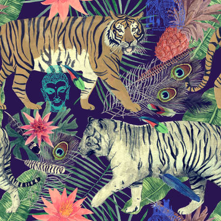 Seamless watercolor pattern with tigers, leaves, feathers,. 스톡 콘텐츠