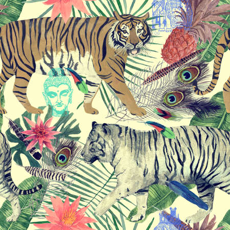 Seamless watercolor pattern with tigers, leaves, feathers,. Reklamní fotografie