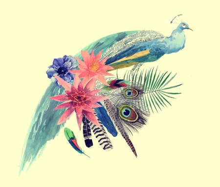 Hnd drawn watercolor illustration of peacock with leaves, flowers, feathers.