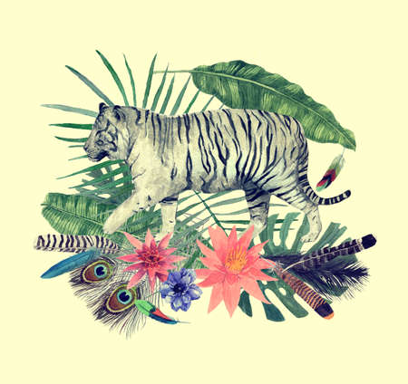 Hand drawn watercolor illustration with flowers, tigers, leaves.