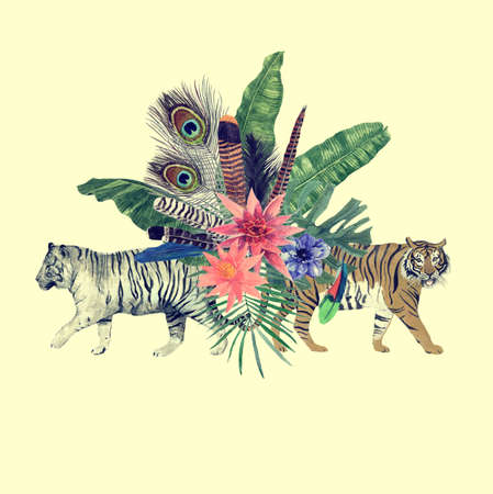 Hand drawn watercolor illustration with tigers, leaves, flowers.