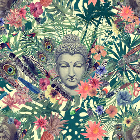 Seamless hand drawn watercolor pattern with buddha head, maharajah, flowers, feathers, palms. Stok Fotoğraf