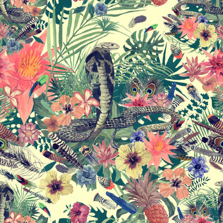 Seamless hand drawn watercolor pattern with cobra, flowers, leaves, feathers. 스톡 콘텐츠