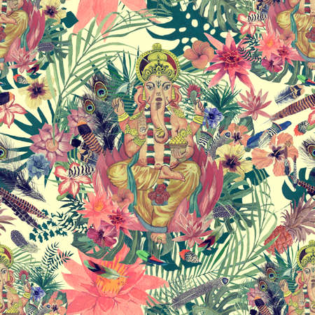 Seamless watercolor hand drawn pattern with ganesha, flowers, leaves, feathers.