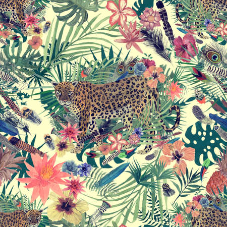 Seamless hand drawn watercolor pattern with leopard, flowers, feathers, flowers. 스톡 콘텐츠