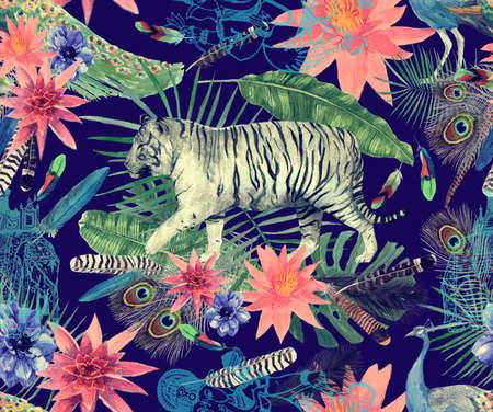 Seamless watercolor pattern with tigers, peacocks, leaves, flowers. 스톡 콘텐츠