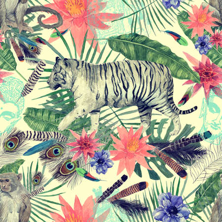 Seamless watercolor pattern with tigers, monkeys, leaves, flowers. 스톡 콘텐츠