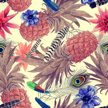 Seamless watercolor pattern with pineapples, leaves, flowers.