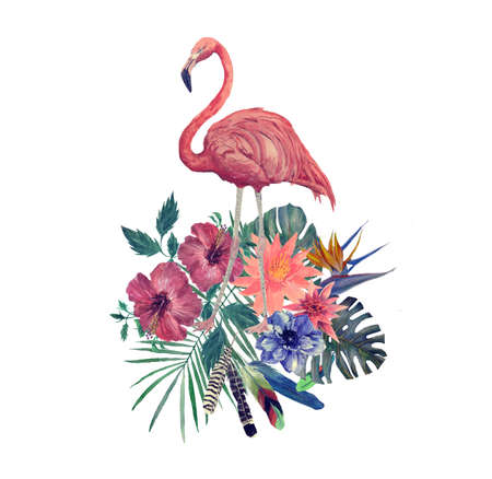 Watercolor illustration of flamingo with leaves, flowers.