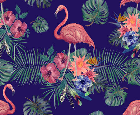 Watercolor seamless pattern of flamingo with leaves, flowers. 스톡 콘텐츠