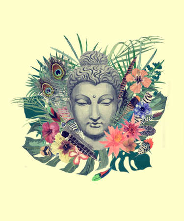 Watercolor hand drawn illustration with buddha head, flowers, leaves, feathers. 스톡 콘텐츠