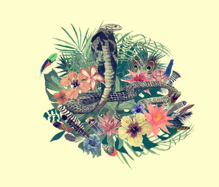 Watercolor hand drawn illustration with cobra, flowers, leaves, feathers.