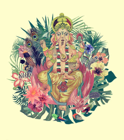 Watercolor hand drawn illustration with ganesha, flowers, leaves, feathers.