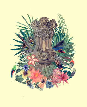Watercolor hand drawn illustration with indian emblem, flowers, leaves, feathers. 스톡 콘텐츠