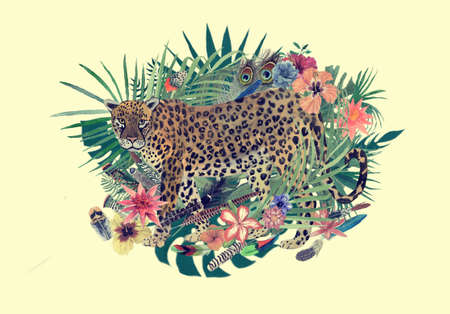 Watercolor hand drawn illustration with leopard, flowers, leaves, feathers.