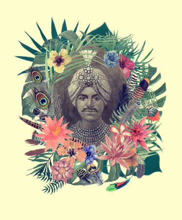 Watercolor hand drawn illustration with maharajah, flowers, leaves, feathers.