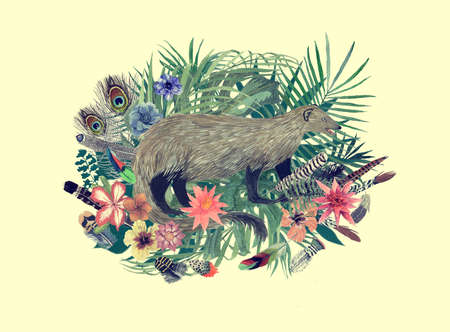 Watercolor hand drawn illustration with mongoose, flowers, leaves, feathers.