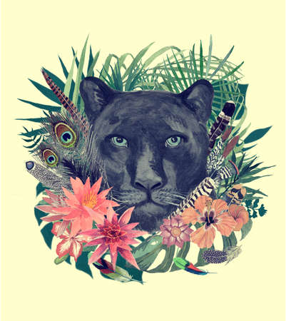Watercolor hand drawn illustration with panther head, flowers, leaves, feathers.