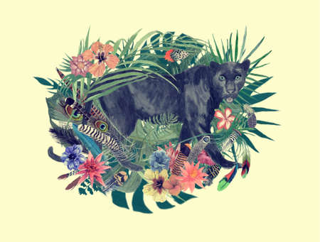 Watercolor hand drawn illustration with panther, flowers, leaves, feathers.