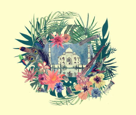 Watercolor hand drawn illustration with taj mahal, flowers, leaves, feathers. 스톡 콘텐츠