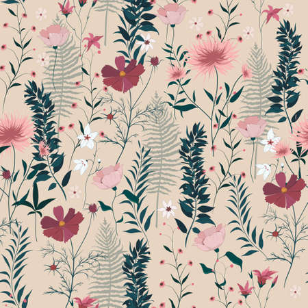 Seamless vector pattern with wild flowers, leaves,