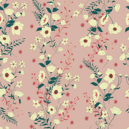 Seamless vector vintage style floral pattern with wild flowers 스톡 콘텐츠 - 114980202