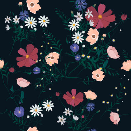 Seamless vector vintage style floral pattern with wild flowers 스톡 콘텐츠 - 114980203