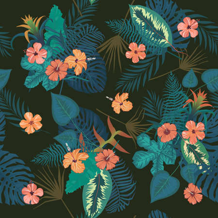 Seamless vector exotic style pattern with flowers, leaves