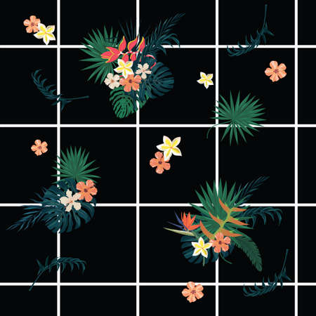Seamless vecor exotic style geometrical pattern with, cells,flowers, feathers