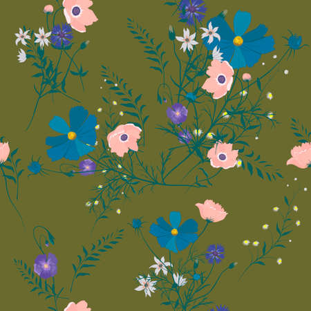 Seamless vector vintage style floral pattern with wild flowers