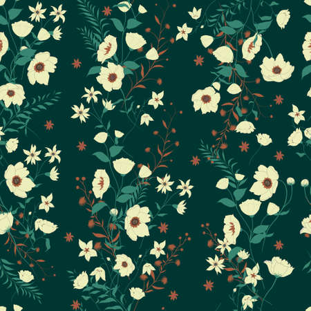 Seamless vector vintage style floral pattern with wild flowers 스톡 콘텐츠 - 114980216