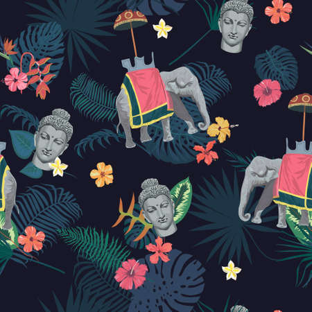 Seamless exotic vintage style vector pattern with Buddha head, elephant, flowers, leaves, feathers.