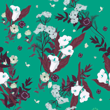 Seamless vector floral pattern with wild flowers Ilustrace