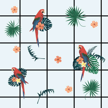 Seamless vecor exotic style geometrical pattern with parrots, cells,flowers, feathers.