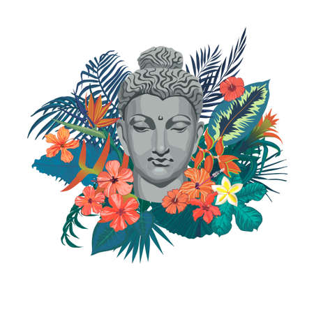 Vector exotic style illustration with Buddha head, flowers, leaves. 일러스트