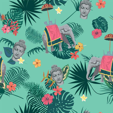 Seamless exotic vintage style vector pattern with Buddha head, elephant, flowers, leaves, feathers. 스톡 콘텐츠 - 114980237
