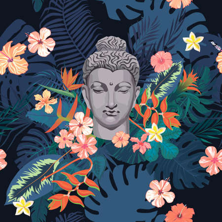 Seamless exotic style vector pattern with Buddha head, flowers, leaves, feathers.