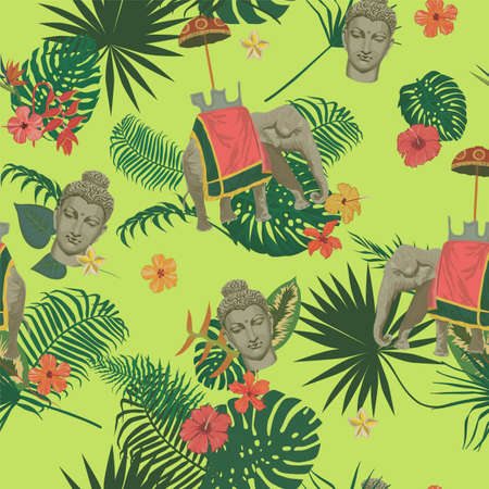 Seamless exotic style vector pattern with Buddha head, elephant, flowers, leaves, feathers.