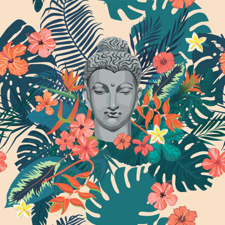 Seamless exotic vintage style vector pattern with Buddha head, flowers, leaves, feathers.