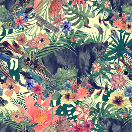 Seamless hand drawn watercolor patten with panther, leaves, flowers, feathers. 스톡 콘텐츠
