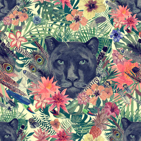 Seamless hand drawn watercolor patten with panther head, leaves, flowers, feathers. Reklamní fotografie