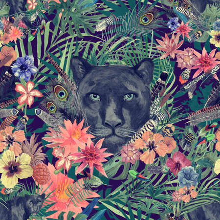 Seamless hand drawn watercolor patten with panther head, leaves, flowers, feathers. 스톡 콘텐츠