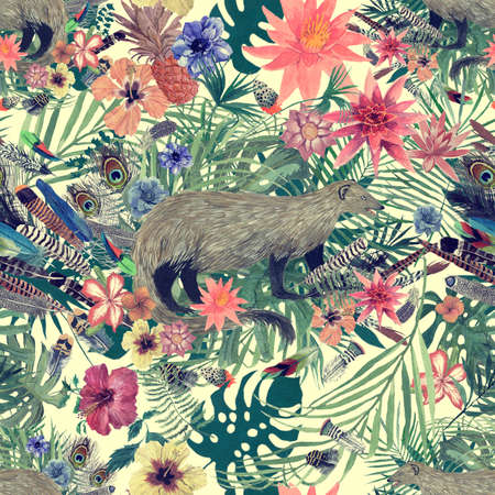 Seamless hand drawn watercolor pattern with mongoose, leaves, flowers, feathers.